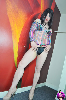 Asian Ladyboy Krissy - Stripes and Stroking!