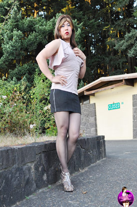 Asian Ladyboy Krissy4u - Tight Skirt!