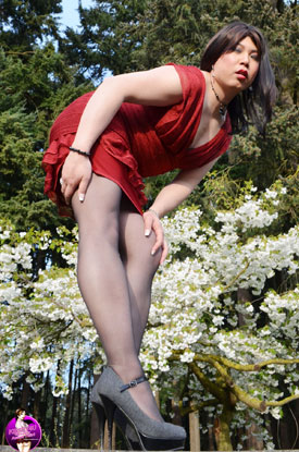 Asian Ladyboy Krissy4u - Red Dress Pics!