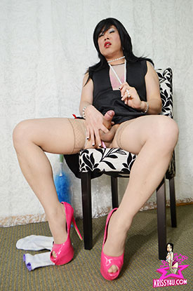 t asian ladyboy krissy kyung 04 Asian Ladyboy Krissy Kyung Cleaning House And Stroking Cock!