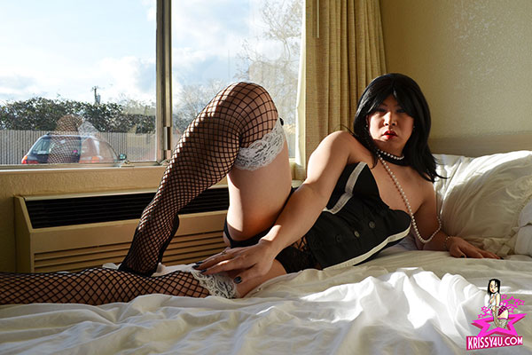 t krissy4u bustier fishnets 01 Asian Ladyboy Krissys Exhibitionism On Krissy4u   Naughty Asian Tgirl!