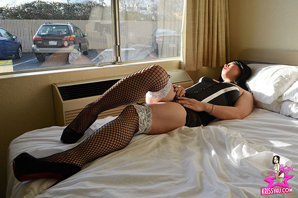 t krissy4u bustier fishnets 03 Asian Ladyboy Krissys Exhibitionism On Krissy4u   Naughty Asian Tgirl!