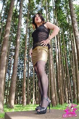 t asian ladyboy krissy4u gold 01 Tight Gold Skirt Stroking With Asian Ladyboy Krissy4u!