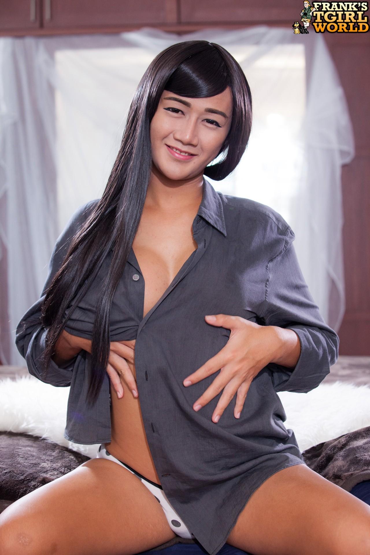 Asian tgirl gift in solo masturbation 4